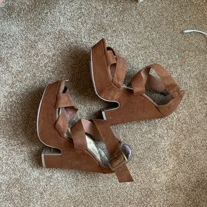 Brown suede strappy wedges